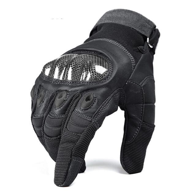Brown Carbon Half Finger Tactical Hard Knuckle Combat Patrol Gloves Glove Pair