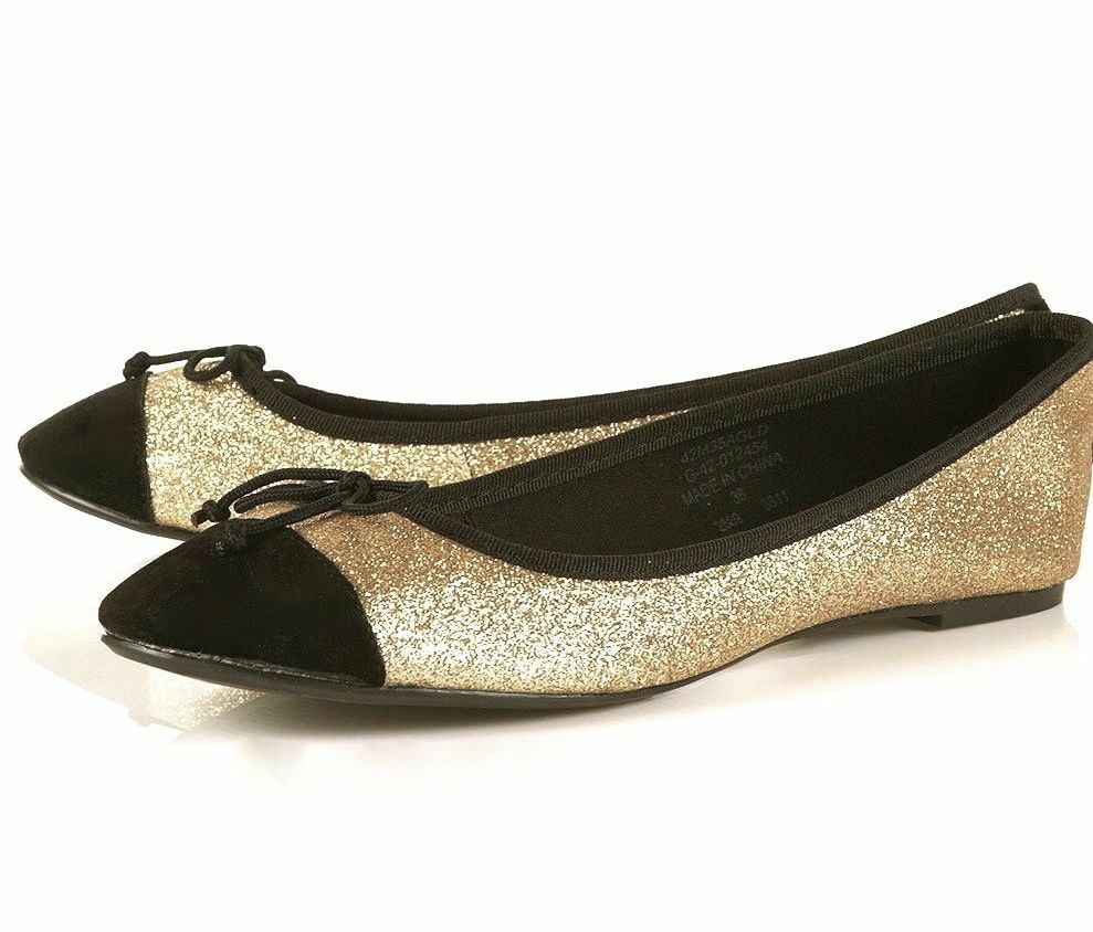 TOPSHOP GOLD SHINY BLACK GLITTER FLAT BALLERINAS WITH BLACK SHINY CAP TOE BALLET PUMPS NEW 88d787