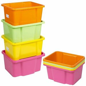 Set Of 4 Plastic Stackable Storage Boxes Sturdy Quality Containers