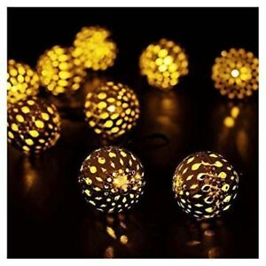 20x Moroccan Filigree Metal Globe Solar String Lanterns