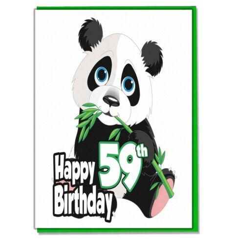 Panda 59th Birthday Card Ladies Wife Girlfriend Sister Mum Friend Grandaughter