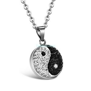 Womens Custom Locket Closure Pendant Necklace Yin Yang Pattern Included Free Silver Chain Best Gift Set