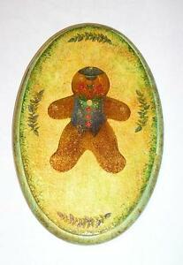 VINTAGE CHRISTMAS FOLK ART BLUE GINGERBREAD COOKIE BOY DISTRESSED ART PAINTING