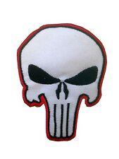 Da Stirare/ Cucire Patch Ricamato Distintivo Skull punisher The Bianco
