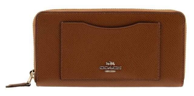 NWT Coach F54007 Accordion Crossgrain Leather Zip Around Wallet in Saddle