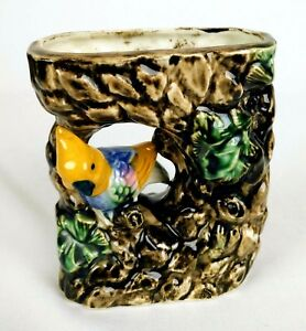 Vintage-Ceramic-Planter-Bud-Vase-w-Yellow-Bird-and-Green-Leaves-Shafford