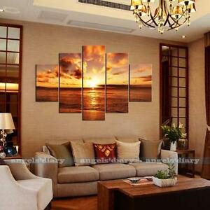 5pc set large seaside sunset unframed hd canvas print wall art picture poster 2 ebay - Poster decoracion ...