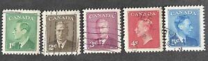 CANADA KING GEORGE VI Definitive Set 1950. USED