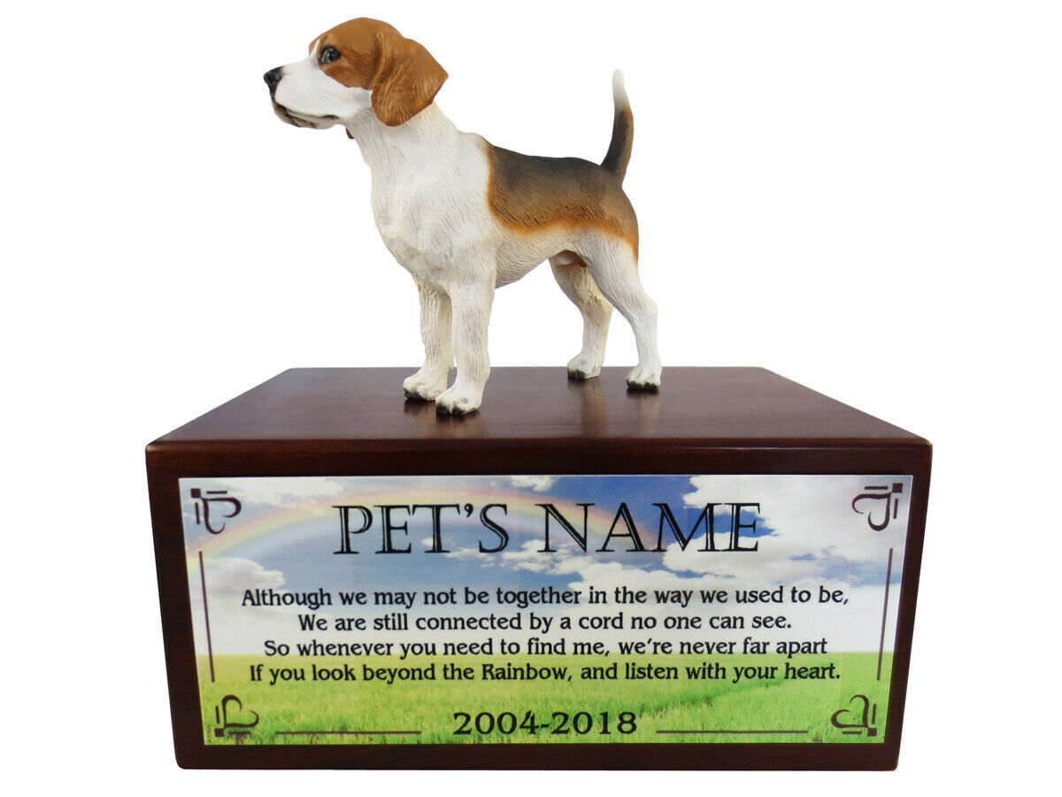 Conversation Concepts Beagle with Beyond The Rainbow Poem Urn