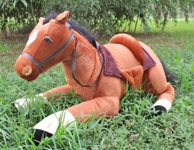 41'' Simulation Big marrone Horse Plush Giant Soft Toy Stuffed Animal Cushion Gift