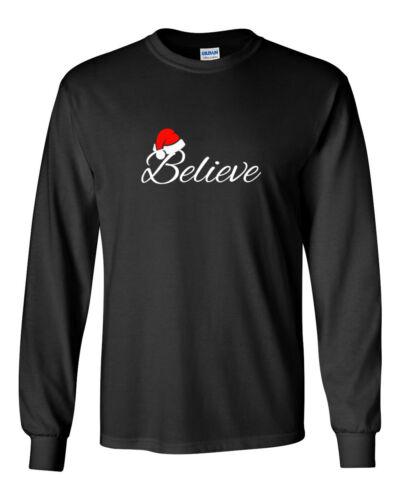Men/'s Believe #3 T-Shirt Christmas Shirt X-mas Holiday Gift Santa Long Sleeve