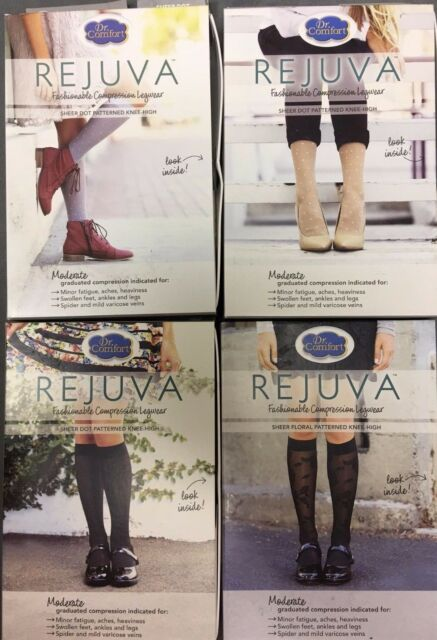 e43333ff8b Dr. Comfort Women's Rejuva Fashion Knee High (15-20 mmHg) Sheer Floral