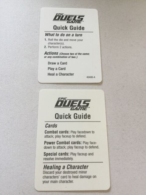 2002 Star Wars Epic Duels Board Game SW Epic Duels Quick Guide Rule Card 2 Cards