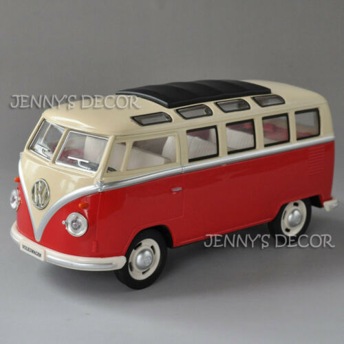 1:24 Diecast Classical Bus Model Toy Volkswagen T1 Pull Back Replica Sound Light