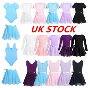 Girls-Ballet-Dance-Leotard-Gymnastics-Unitard-Tutu-Wrap-Skirt-Outfits-Dancewear