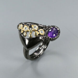 Natural Amethyst 925 Sterling Silver Ring Size 6/RR17-1671