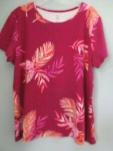 Croft-amp-Barrow-Women-039-s-Size-XL-100-Cotton-Floral-Short-Sleeve-Blouse