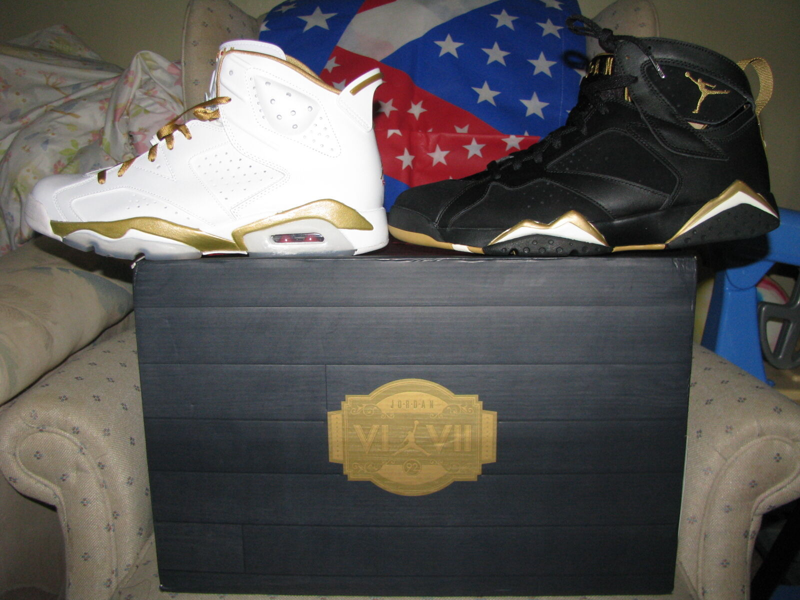 NIKE AIR JORDAN RETRO 6 & 7 DMP goldEN MOMENT OLYMPIC PACK USA Laser Bred Light