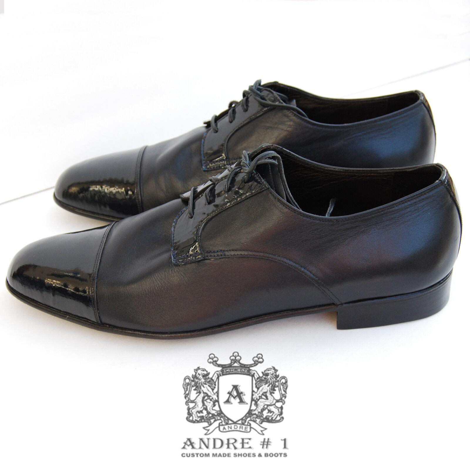 il prezzo più basso ANDRE No. 1 Uomo Patent Patent Patent Cowhide Leather Dress scarpe, Sz 11 NEW, Handmade USA  nuovo di marca