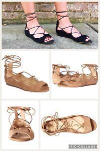 f63d6b25ce55 Sam Edelman Barbara Ballet Lace Up Open Toe Flats Sandals Tan Camel ...