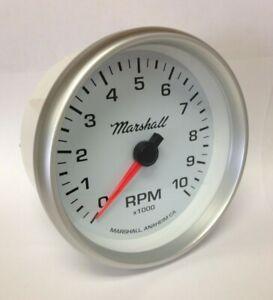 Marshall-5-034-In-Dash-Tachometer-White-Dial-Silver-Aluminum-Bezel-2253