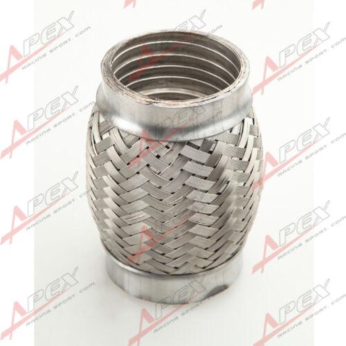 """2.75/"""" Exhaust Flex Pipe 2 3//4/"""" x 4/"""" OL Heavy Duty Stainless Steel Interlock"""