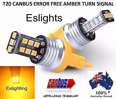 2 X T20 7440 7443 LED AMBER INDICATOR TURN SIGNAL CAR UTE 4WD LIGHT BULB GLOBE