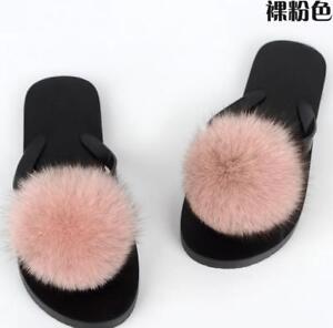 c6822fc315a Women s slides Real Fox Fur Ball Slipper Slider Indoor Outdoor Flat ...