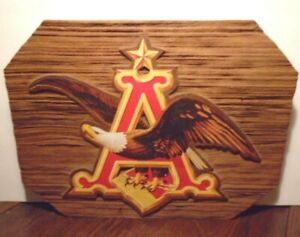 Vintage Anheuser Busch Budweiser Beer Wood Look Resin 18