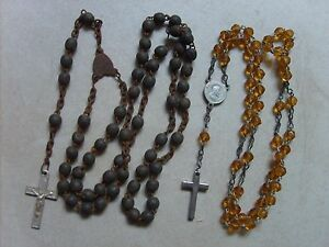 Lot-de-2-anciens-chapelets-rosaires-catholique-de-33-5-cm-et-43-cm-lot-B26