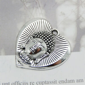 Retro-Silver-Alloy-32x32mm-Buddha-with-Heart-Pendant-Charms-DIY-Findings-10pcs
