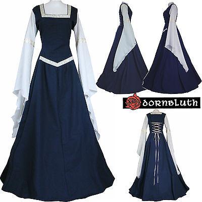 Mittelalter Gewand Kleid Hermia Leinen Marine-Ecru XS S M L XL