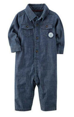 NWT Carter/'s Baby Boys/' Denim Blue Jumpsuit Athletic Division Button Up Infant