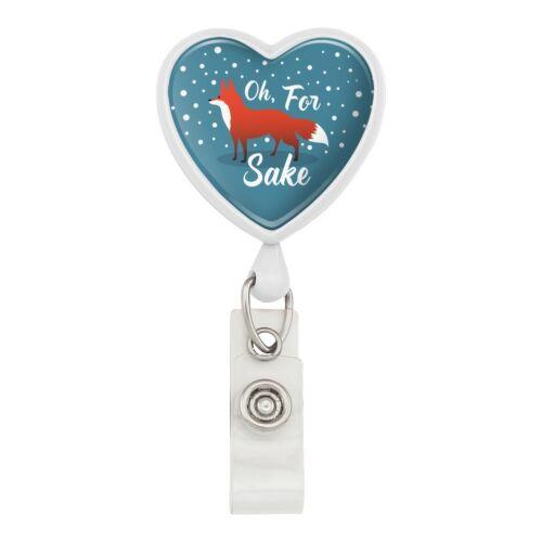 Oh For Fox Sake Funny on Teal Heart Lanyard Reel Badge ID Card Holder
