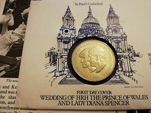 """1981 United Kingdom """"Charles  & Diana Wedding"""" COIN & (First day Cover)"""