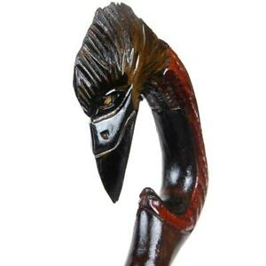 Raven-Head-Wooden-Walking-Cane-Canes-Hand-Support-Handle-Handmade-Carved-Stick