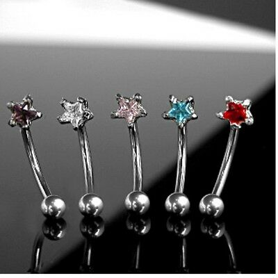 "CZ STAR CURVE GEM EYEBROW RING 16G 3/8""  UNIQUE BARBELL PIERCING JEWELRY w/STONE"