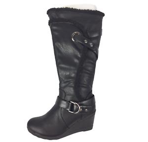 ladies black leather wedge boots