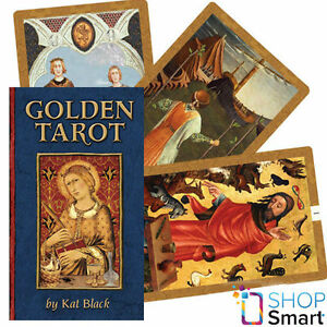 Details about GOLDEN TAROT DECK CARDS ESOTERIC TELLING KAT BLACK  ILLUSTRATED BOOK NEW