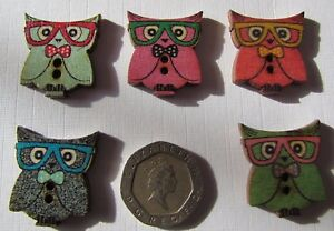 10-Novelty-Owl-Wooden-Buttons-Kids-Craft-Knitting-Toppers-Cards