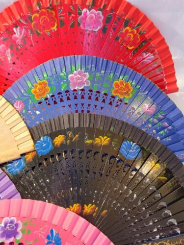 Joblot of 12pcs Wooden Hand Painted on both sides Spanish Folding HandFan NEW  D