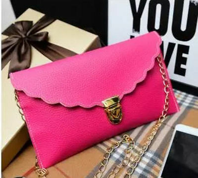 Ladies Hot Pink Scallop Envelope Clutch Purse Bag Clubbing Party Evening Summer