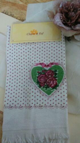Clayre /& Fed invités-serviette 60x40cm roses shabby 100/% coton