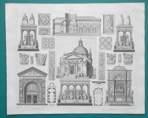 ARCHITECTURE-Renaissance-Italy-Perugia-Venice-Naples-1844-Superb-Print