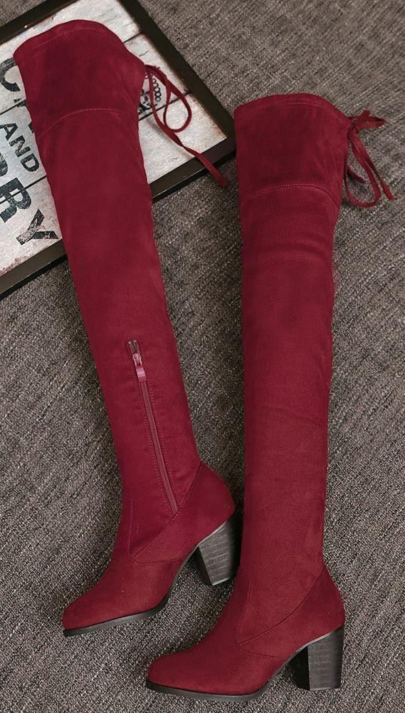 stivali stivaletti rosso ginocchio coscia tacco 8 cm  comodi simil pelle 9365