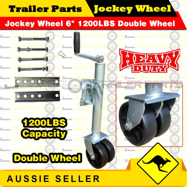 Jockey Wheel 6 inch 1200LBS Double Wheel Twin Jockey Trailer Caravan Boat Parts
