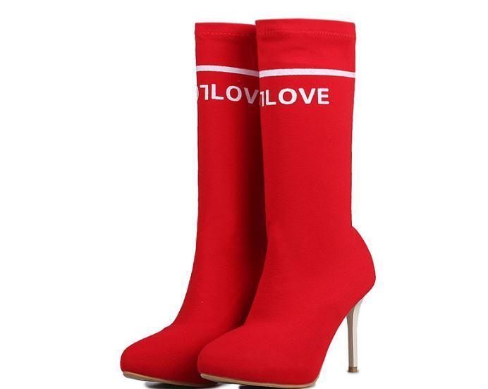 Botines botas Muslo Talón Perno 9.5 cm Rojo blancoo Piel Sintético 383