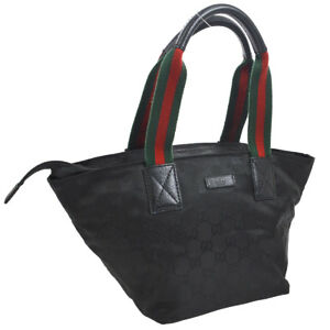 c661a41d406e2c Auth GUCCI Shelly Line GG Pattern Hand Tote Bag Black Nylon Leather ...