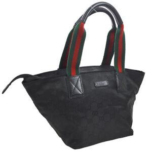 0deb25746ddf Auth GUCCI Shelly Line GG Pattern Hand Tote Bag Black Nylon Leather ...