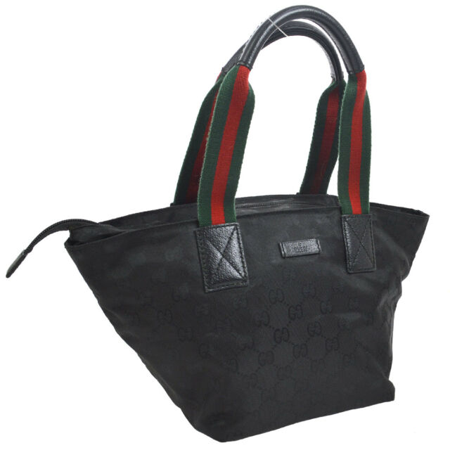 aff6597a319 Auth GUCCI Shelly Line GG Pattern Hand Tote Bag Black Nylon Leather AK24765